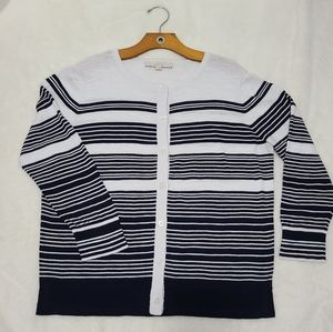 LOFT button down striped black white top sz L